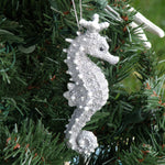 "Silver Seahorse Ornament with ""Crown"""
