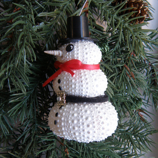 Sea Urchin Snowman Christmas Ornament