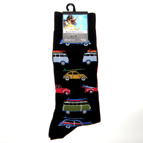 Men's Gone Surfing Black Crew Socks