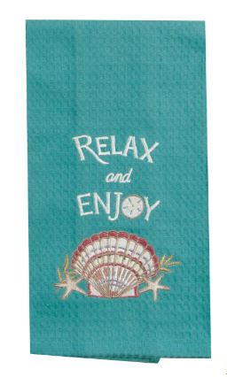 Relax and Enjoy embroidered waffle weave towel