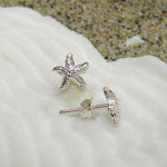 Sterling silver Starfish Stud Small Earrings (textured)
