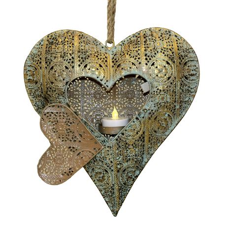 Metal gold heart lantern - candle holder