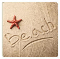 Absorbent Coaster - Red Starfish on the beach