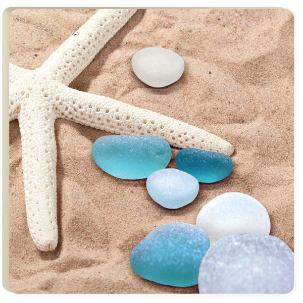 Absorbent Coaster - Sea Glass and Starfish on Sand