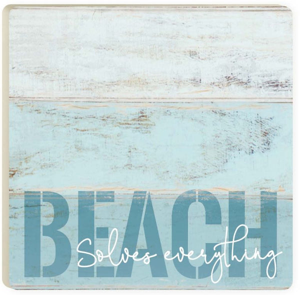 Absorbent Coaster - Beach Solves Everything