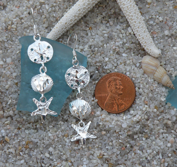 Sterling silver starfish and shell dangle earrings