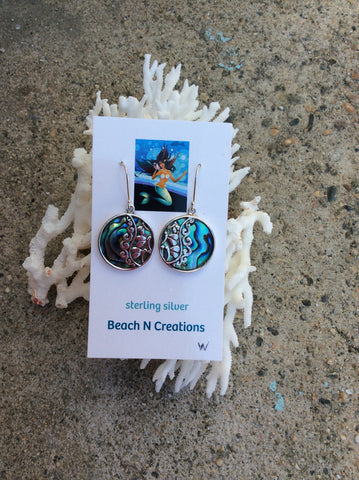 Abalone Earrings with silver swirl pattern 203