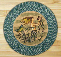 Jute Braided Round Accent Rugs: Mermaid Rug