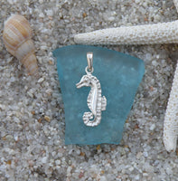 Sterling silver seahorse pendant or charm with shiny body