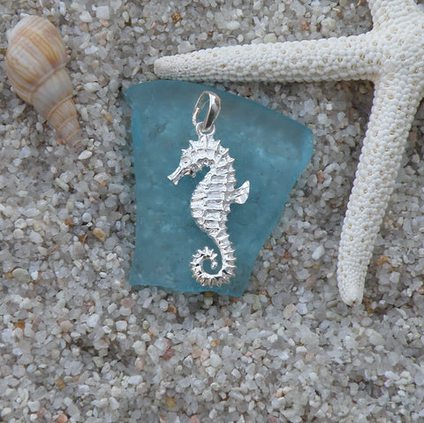 Sterling silver Seahorse shiney belly pendant  charm
