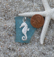 Sterling silver Seahorse textured pendant charm