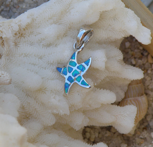 Sterling silver Blue Opal Starfish Pendant Small