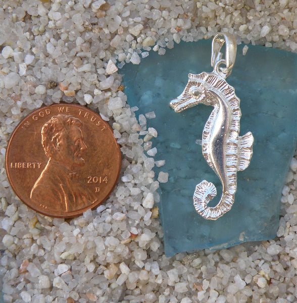 Sterling silver seahorse pendant or charm with shiney body large