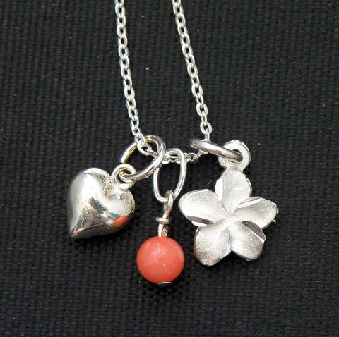 Sterling Silver cable chain Necklace - Coral, Heart, Plumeria
