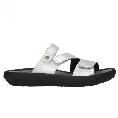Wolky, Sense, Slide, Leather, 85 130 Silver Sandals Wolky