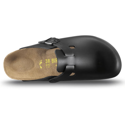 Birkenstock Classic, Boston, Narrow Fit, Smooth Leather, Black at Sole Drifter