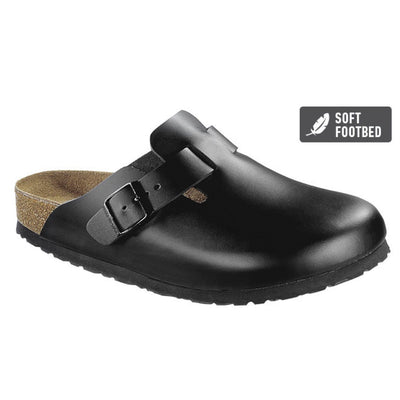 Birkenstock Clog, Boston, Soft-Footbed, Regular Fit, Smooth Leather, Black Clogs Birkenstock Black 35