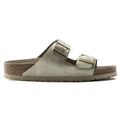 Birkenstock Classic, Arizona, Regular Fit, Leather, Washed Metallic, Cream Gold