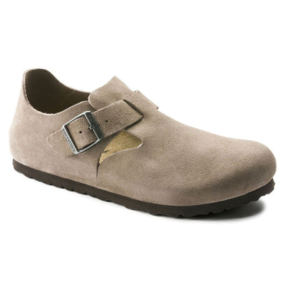 Birkenstock Shoes, London, Suede Leather, Narrow Fit, Taupe Shoes Birkenstock Shoes Taupe 37