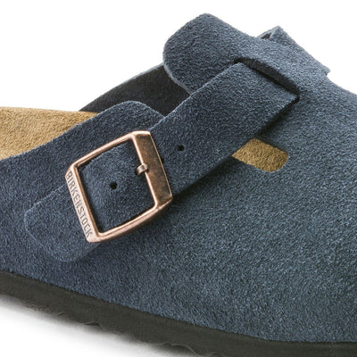 Birkenstock Boston, Regular Fit, Soft Footbed, Suede Leather, Navy - Birkenstock Hahndorf