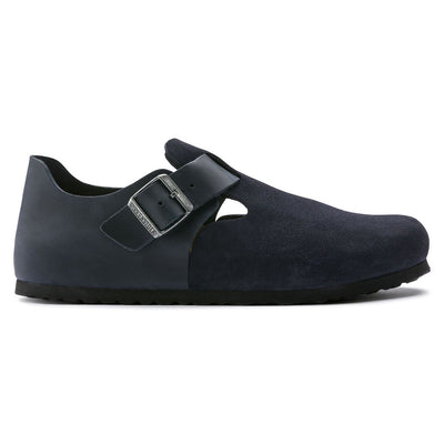 Birkenstock Shoes, London, Oiled Leather/Suede, Narrow Fit, Night Blue Shoes Birkenstock Shoes