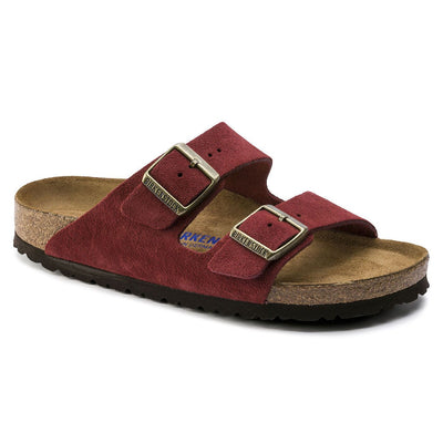 Birkenstock Seasonal, Arizona, Suede Leather, Soft Footbed, Regular Fit, Antique Port Sandals Birkenstock Seasonal Antique Port 35