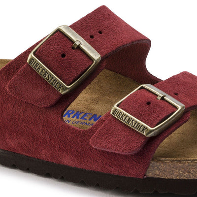 Birkenstock Seasonal, Arizona, Suede Leather, Soft Footbed, Regular Fit, Antique Port Sandals Birkenstock Seasonal