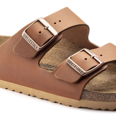 Birkenstock Seasonal, Arizona, Antique Aging, Natural Leather, Regular Fit, Antique Pull Cognac Sandals Birkenstock Seasonal