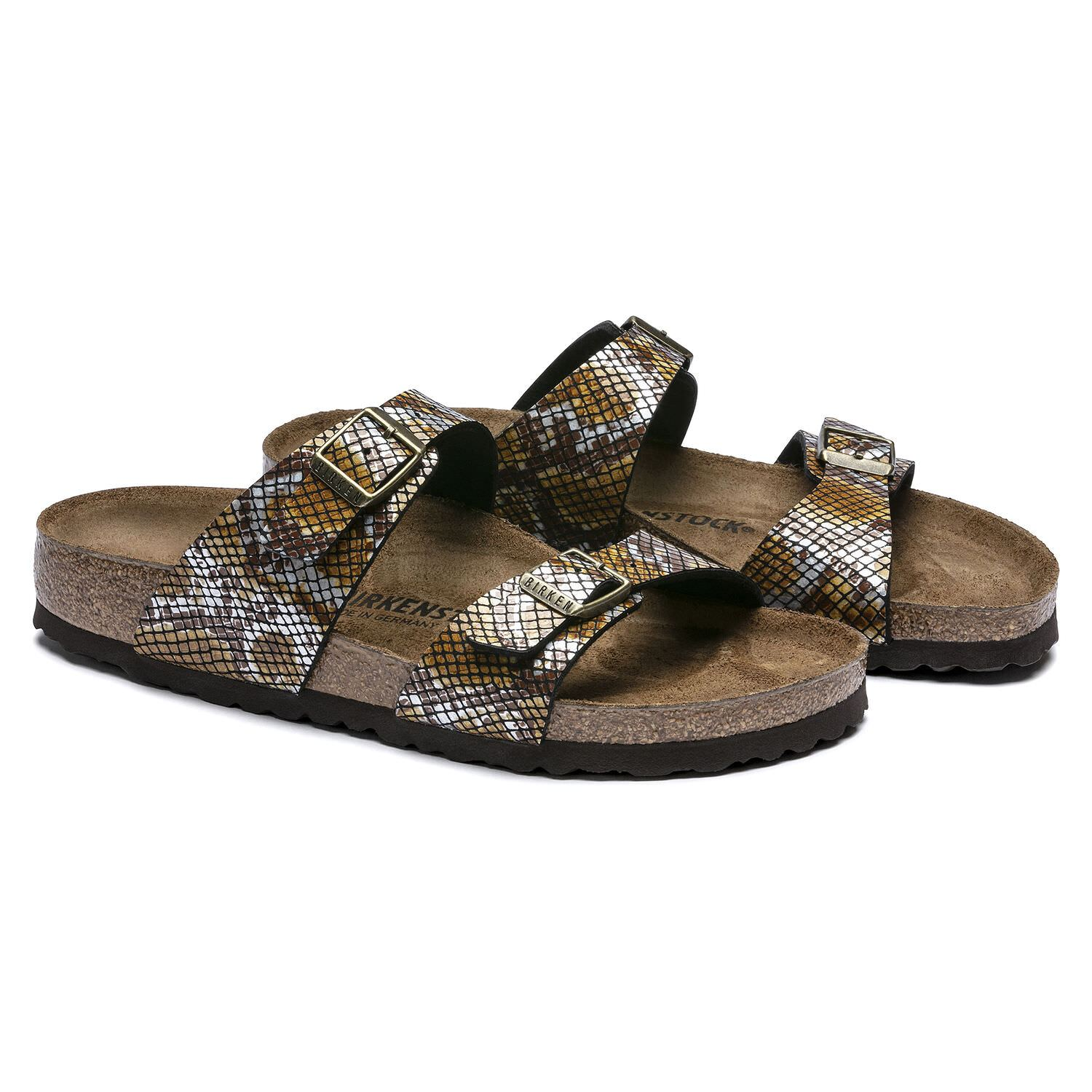 Birkenstock Seasonal, Sydney, Birko-Flor/Microfibre, Narrow Fit, Brown Python Sandals Birkenstock Seasonal Brown Python 36