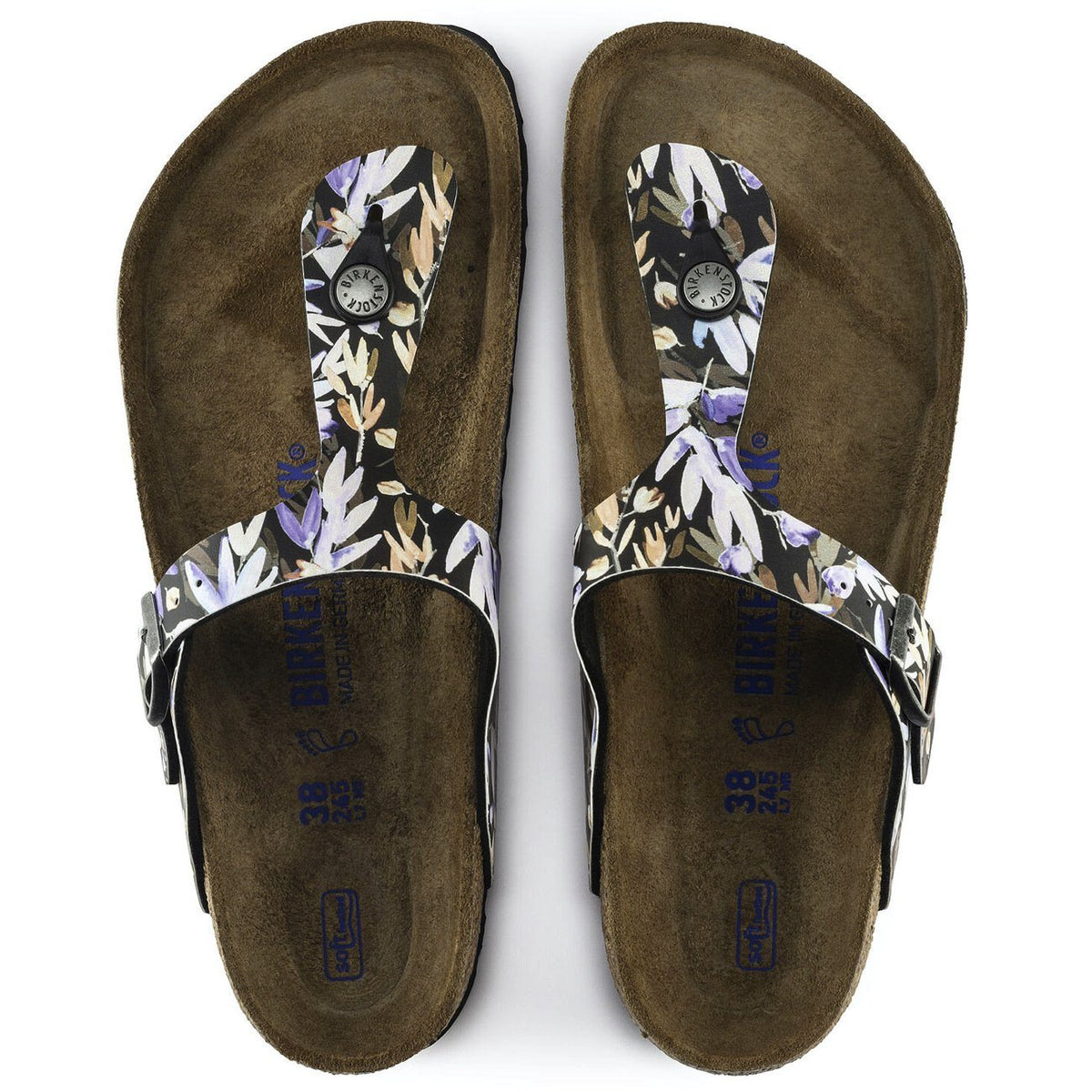Birkenstock Seasonal, Gizeh Floral Fades, Soft Footbed, Birko-Flor, Regular Fit, Black Sandals Birkenstock Seasonal