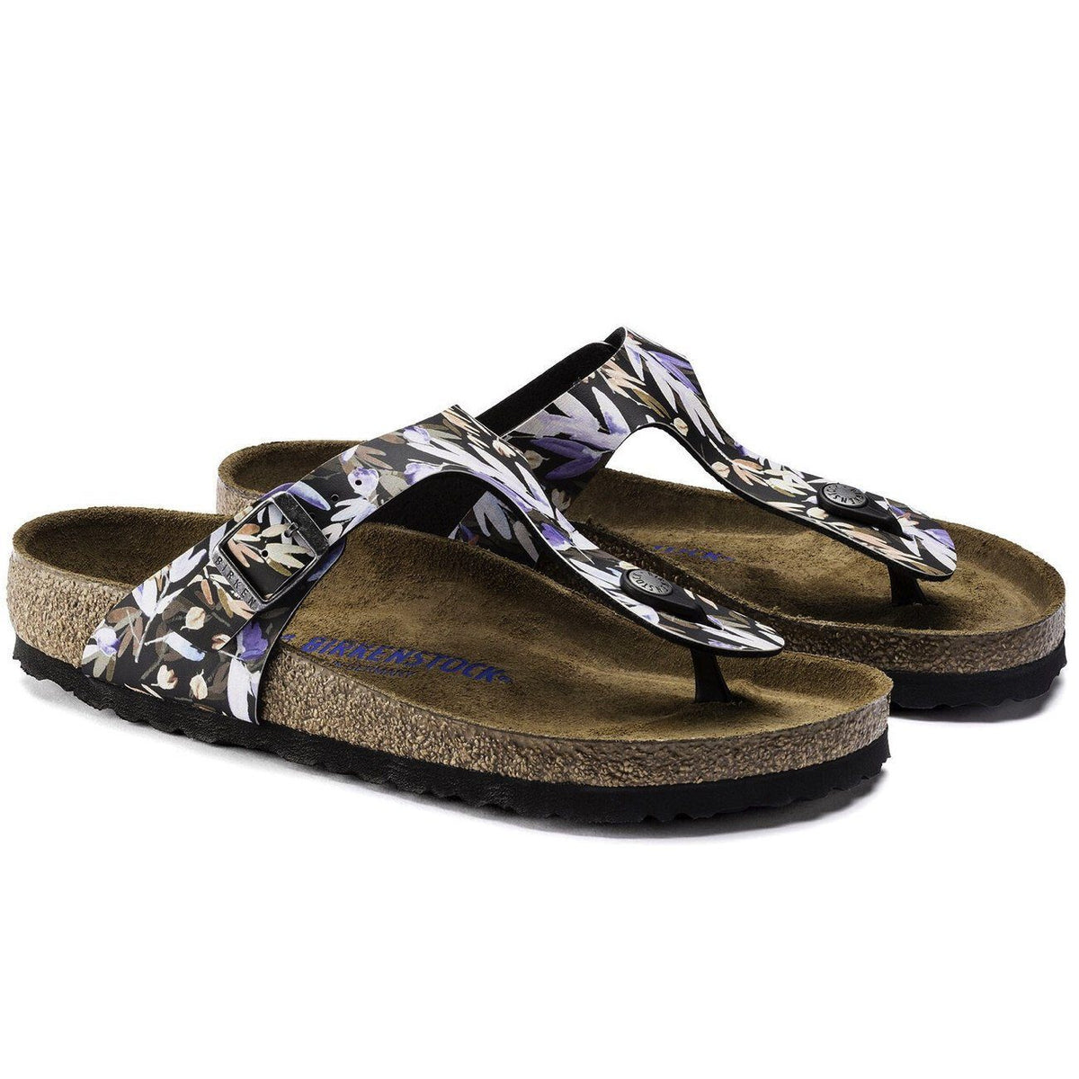 Birkenstock Seasonal, Gizeh Floral Fades, Soft Footbed, Birko-Flor, Regular Fit, Black Sandals Birkenstock Seasonal Floral Fades Black 36