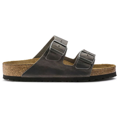 Birkenstock Seasonal, Arizona, Oiled Leather, Soft Footbed, Regular Fit, Iron Sandals Birkenstock Seasonal