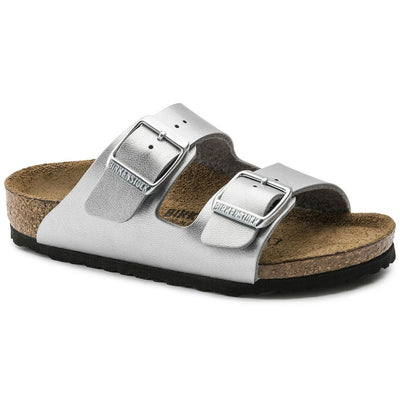 Birkenstocks Kids, Arizona, Birko-Flor, Narrow Fit, Silver Sandals Birkenstock Kids Silver 28
