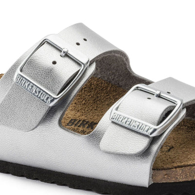 Birkenstocks Kids, Arizona, Birko-Flor, Narrow Fit, Silver Sandals Birkenstock Kids