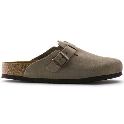 Birkenstock Boston, Narrow Fit, Soft Footbed, Suede Leather, Taupe Clogs Birkenstock Classic