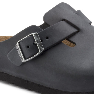 Birkenstock Classic, Boston, Narrow Fit, Oiled Leather, Black - Birkenstock Hahndorf