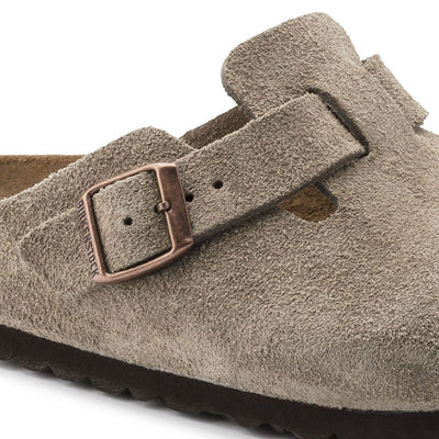 Birkenstock Classic, Boston, Regular Fit, Suede Leather, Taupe Clogs Birkenstock Classic