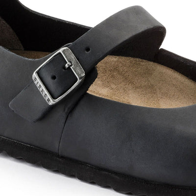 Birkenstock Shoes, Mantova, Oiled Leather, Black, Narrow Fit - Birkenstock Hahndorf