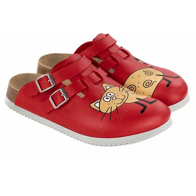 Birkenstock Professional, Kay SL, Birko-Flor, Super-Grip Sole, Narrow Fit, Cat Red Clogs Birkenstock Professional Cat Red 36