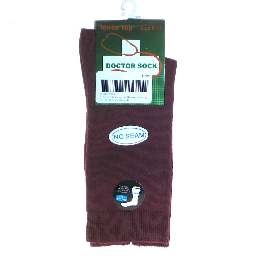 Dr Socks, 95% Cotton, 5% Elastane Loose top, No Toe Seam Socks Mongrel Socks Maroon 6-11