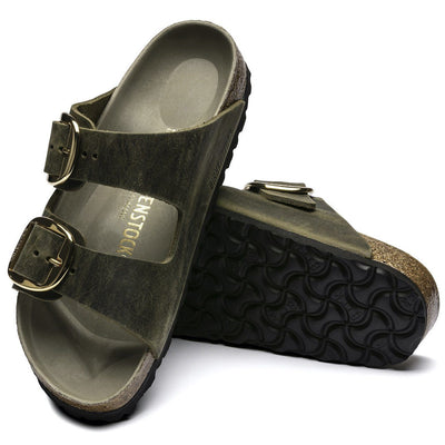 Birkenstock Seasonal, Arizona, Big Buckle, Oiled Leather, Regular Fit, Jade Sandals Birkenstock Seasonal