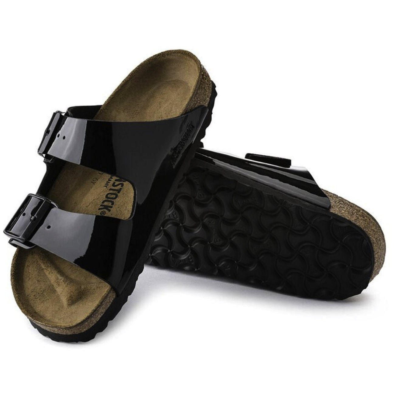 Birkenstock Classic, Arizona, Birko-Flor Patent, Regular Fit, Black Sandals Birkenstock Classic Black 35