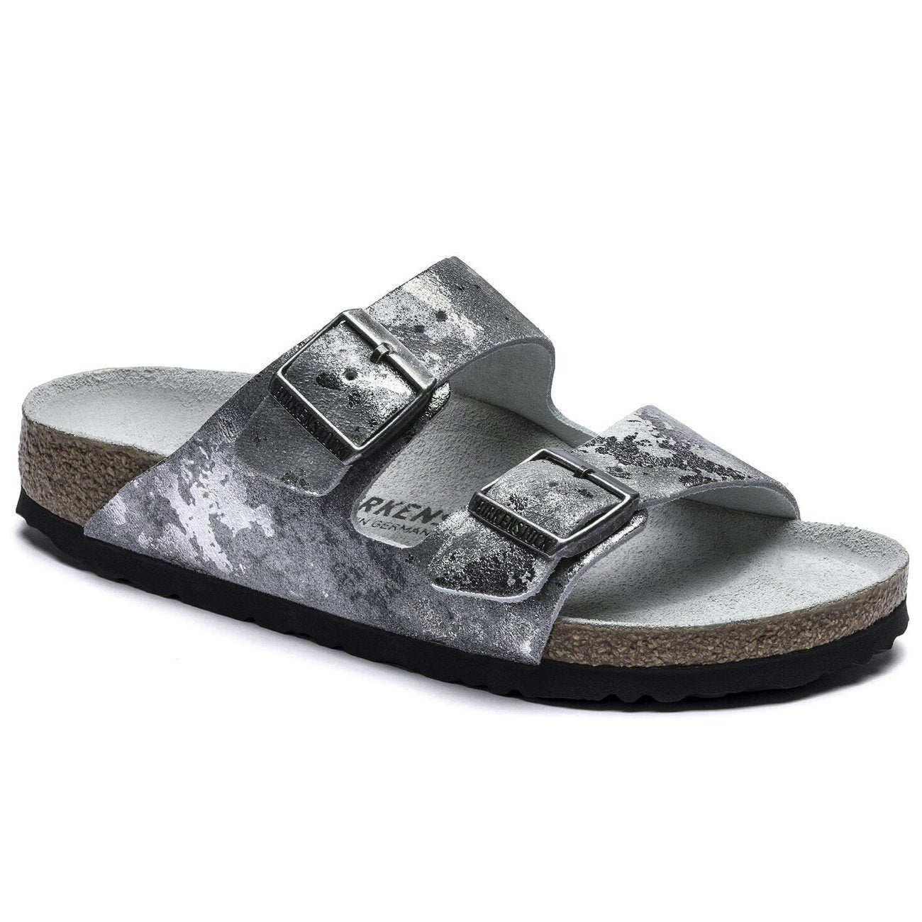 Birkenstock Seasonal, Arizona, Suede Leather, Regular Fit, Vintage Metallic Grey Silver Sandals Birkenstock Seasonal Vintage Metallic Grey Silver 36