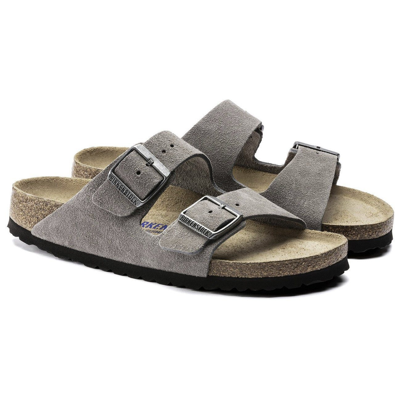 Birkenstock Seasonal, Arizona, Suede Leather, Narrow Fit, Soft Footbed, Stone Coin Sandals Birkenstock Seasonal Stone Coin 35