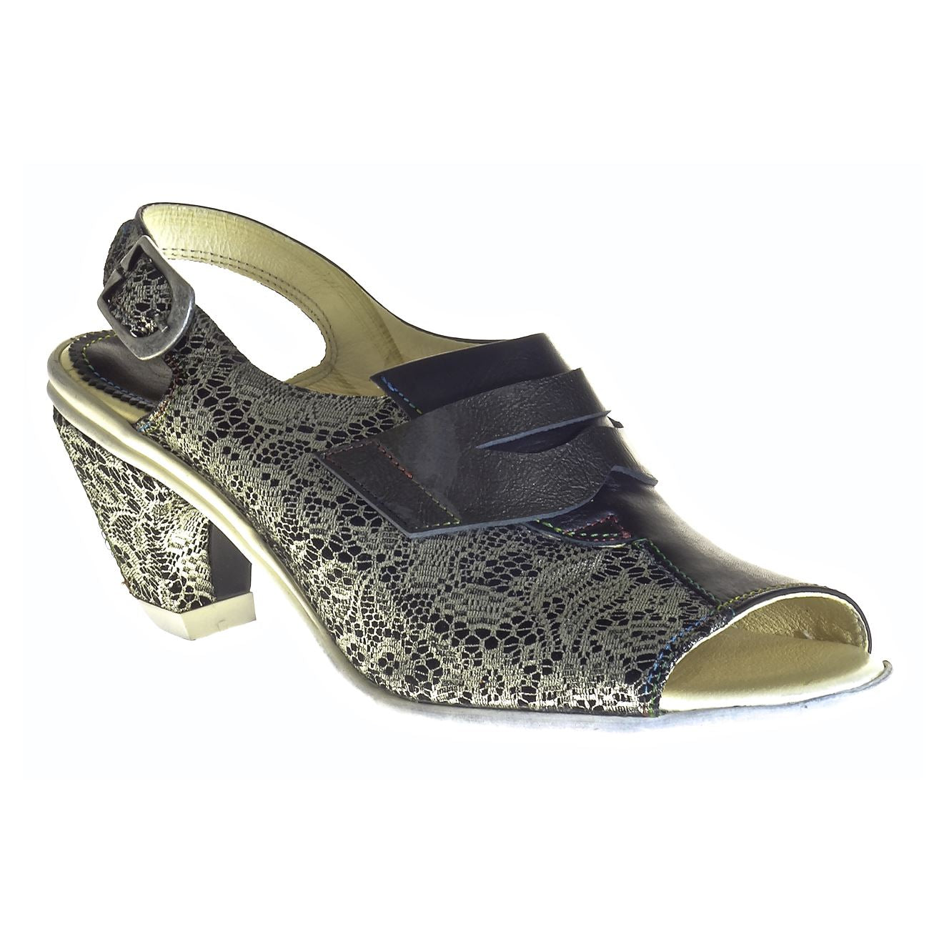 Eject, 06, Sandal, Leather, Black Lace Combo Shoes Eject Black Lace Combo 38