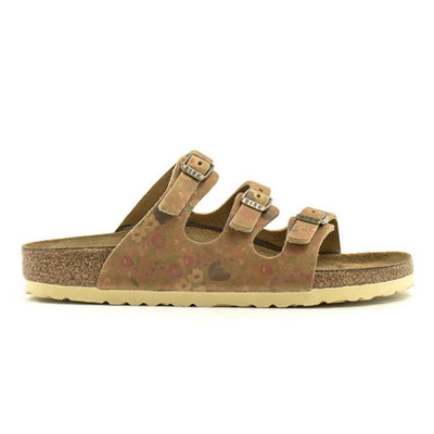 Birkenstock Seasonal, Florida Vintage Flowers, Smooth Leather, Narrow Fit, Cognac Sandals Birkenstock Seasonal