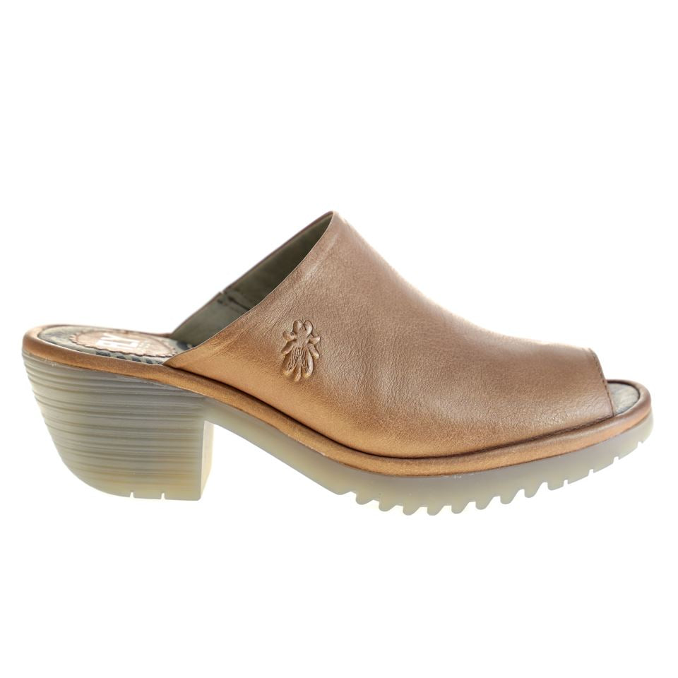Fly London, Wony, Mule, Leather, Tan Sandals Fly London