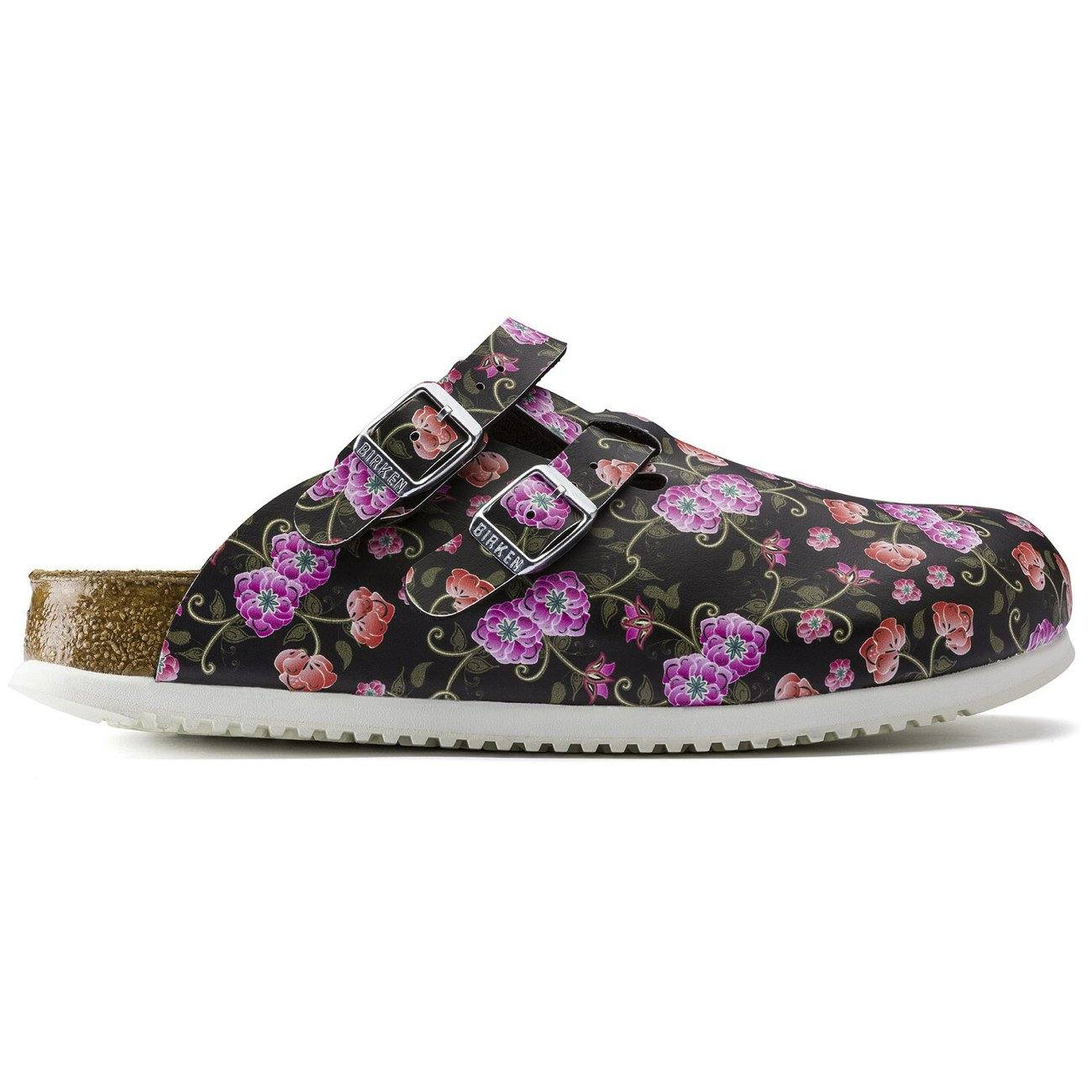 Birkenstock Professional, Kay Supergrip, Birko-Flor, Narrow Fit, Blooming Roses Black Clogs Birkenstock Professional Blooming Roses Black 35