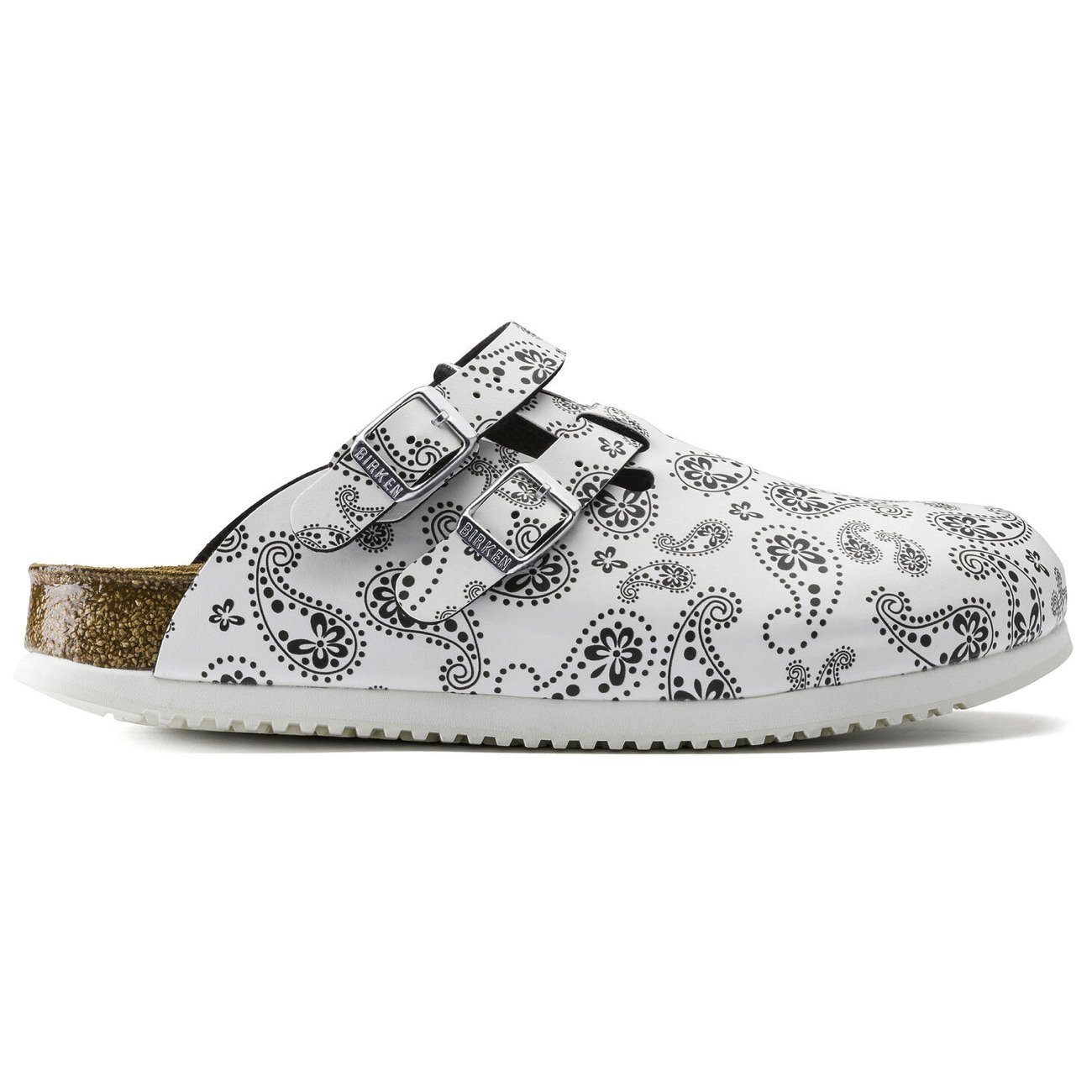 Birkenstock Professional, Kay Supergrip Birko-Flor, Narrow Fit, Paisley Black/White Clogs Birkenstock Professional Paisley Black/White 35