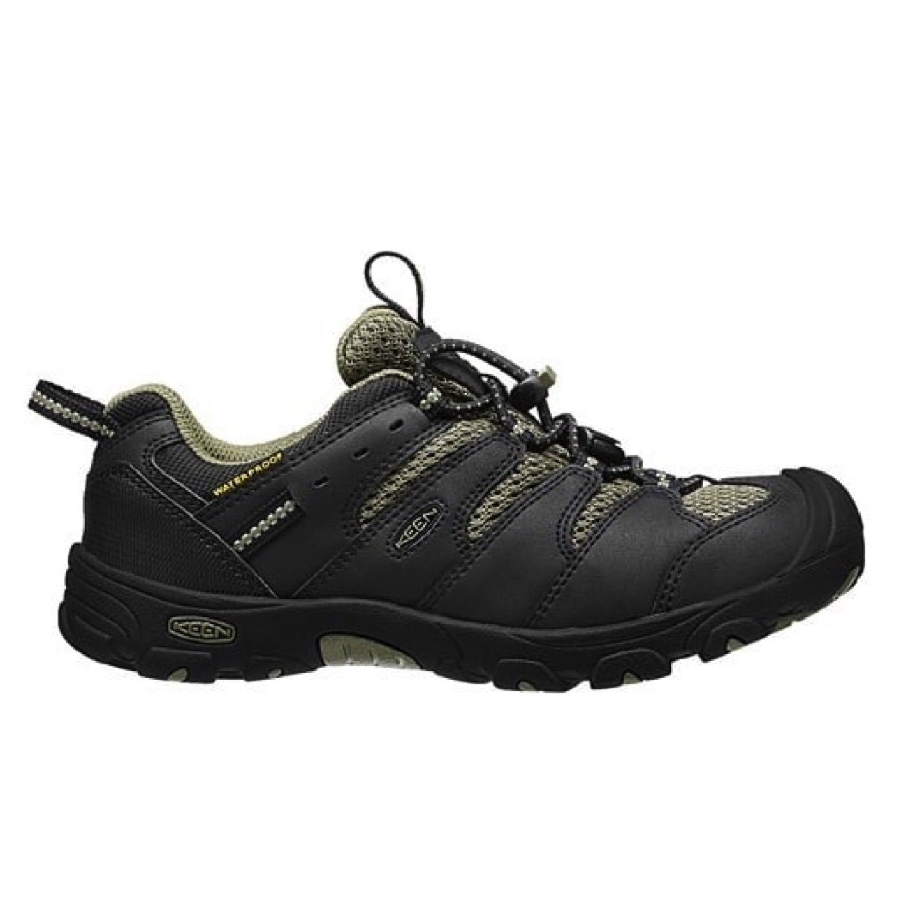 Keen Kids, Koven Low WP, CHILDREN, Medium Fit, Waterproof, Leather/ Mesh Upper Kids Footwear Keen Black/Burnt Olive 13